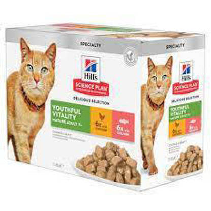 Picture of Hills Science Plan Adult Cat 7+ Youthful Vitality  pouches 12 x 85g